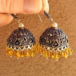 New Yellow Pearl Silver Jhumka Bell Earrings.